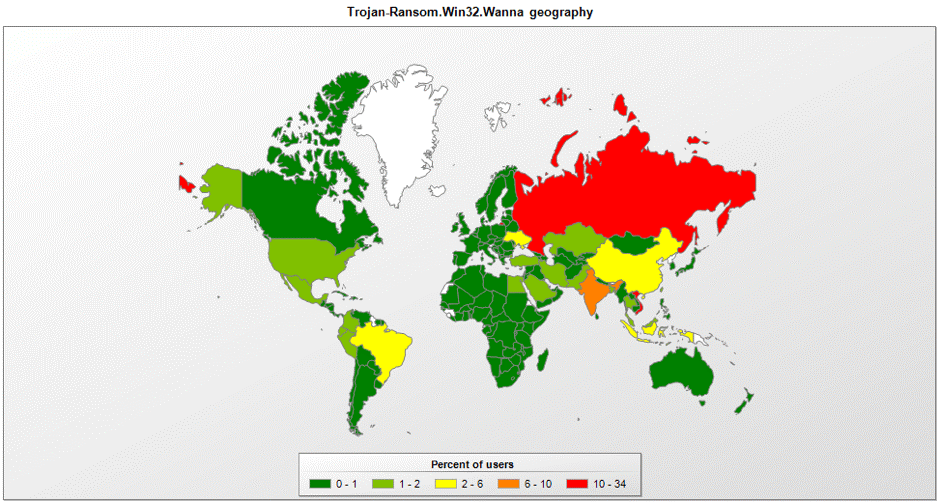 Mapa dos países infectados pelo Wannacry